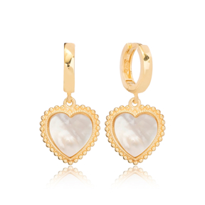 Sophisticated Heart Design White Stone Dangle Earrings Turkish Wholesale Sterling Silver Jewelry