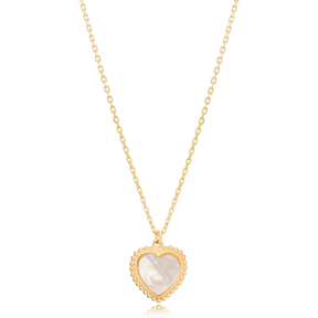 White Stone Heart Shape Charm Design Pendant Turkish Handmade 925 Sterling Silver Jewelry