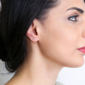 Leo Zodiac Mini Stud Earring Turkish Handmade 925 Sterling Silver Jewelry