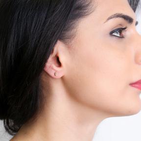 Capricorn Zodiac Mini Stud Earring Turkish Handmade 925 Sterling Silver Jewelry