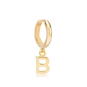 Initial Alphabet letter B Charm  Ø12mm Hoop Dangle Single Earring Wholesale 925 Sterling Silver Jewelry