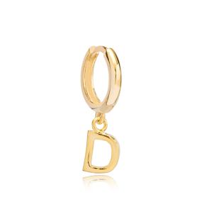 Initial Alphabet letter D Charm  Ø 12mm Hoop Dangle Single Earring Wholesale 925 Sterling Silver Jewelry