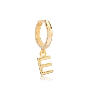 Initial Alphabet letter E Charm  Ø12mm Hoop Dangle Single Earring Wholesale 925 Sterling Silver Jewelry