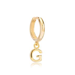 Initial Alphabet letter G Charm  Ø12mm Hoop Dangle Single Earring Wholesale 925 Sterling Silver Jewelry