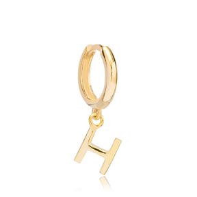 Initial Alphabet letter H Charm  Ø12mm Hoop Dangle Single Earring Wholesale 925 Sterling Silver Jewelry