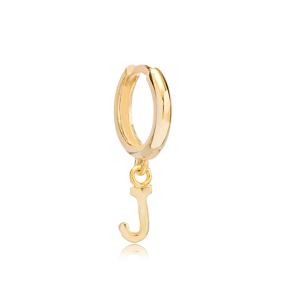 Initial Alphabet letter J Charm  Ø12mm Hoop Dangle Single Earring  Wholesale 925 Sterling Silver Jewelry
