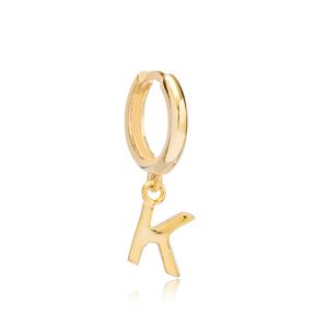 Initial Alphabet letter K Charm  Ø12mm Hoop Dangle Single Earring Wholesale 925 Sterling Silver Jewelry