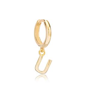 Initial Alphabet letter U Charm  Ø12mm Hoop Dangle Single Earring Wholesale 925 Sterling Silver Jewelry