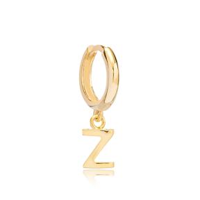 Initial Alphabet letter Z Charm  Ø12mm Hoop Dangle Single Earring Wholesale 925 Sterling Silver Jewelry