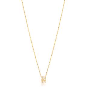 Initial Alphabet letter B Charm Zircon Stone Pendant. Wholesale 925 Sterling Silver Jewelry