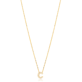 Initial Alphabet letter C Charm Zircon Stone Pendant. Wholesale 925 Sterling Silver Jewelry