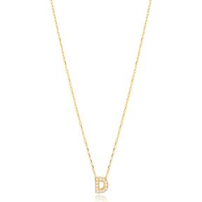 Initial Alphabet letter D Charm Zircon Stone Pendant. Wholesale 925 Sterling Silver Jewelry