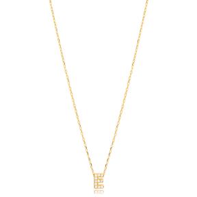 Initial Alphabet letter E Charm Zircon Stone Pendant. Wholesale 925 Sterling Silver Jewelry