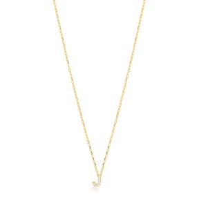 Initial Alphabet letter J Charm Zircon Stone Pendant. Wholesale 925 Sterling Silver Jewelry