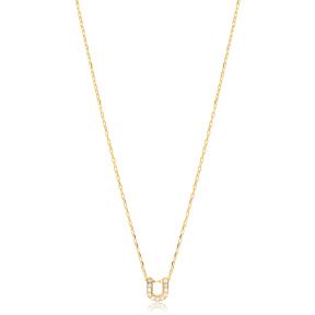 Initial Alphabet letter U Charm Zircon Stone Pendant. Wholesale 925 Sterling Silver Jewelry