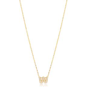 Initial Alphabet letter W Charm Zircon Stone Pendant. Wholesale 925 Sterling Silver Jewelry