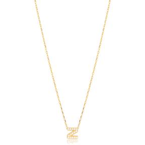 Initial Alphabet letter Z Charm Zircon Stone Pendant. Wholesale 925 Sterling Silver Jewelry