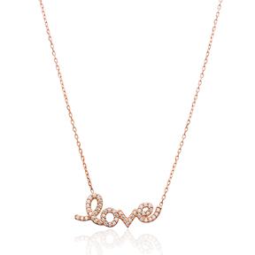 CZ Letter Love Design Turkish Wholesale Pave Silver Necklace