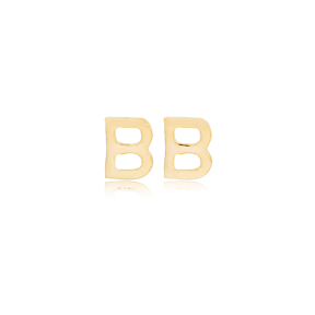 Minimalistic Initial Alphabet letter B Stud Earring Wholesale 925 Sterling Silver Jewelry
