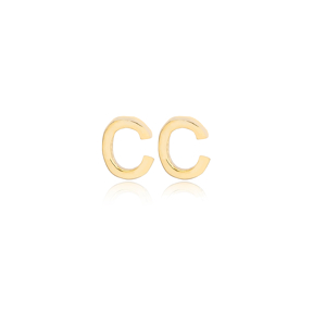 Minimalistic Initial Alphabet letter C Stud Earring Wholesale 925 Sterling Silver Jewelry