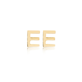 Minimalistic Initial Alphabet letter E Stud Earring Wholesale 925 Sterling Silver Jewelry