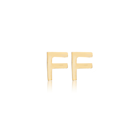 Minimalistic Initial Alphabet letter F Stud Earring Wholesale 925 Sterling Silver Jewelry