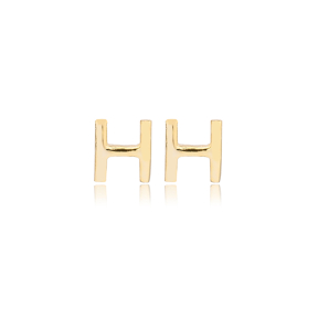 Minimalistic Initial Alphabet letter H Stud Earring Wholesale 925 Sterling Silver Jewelry