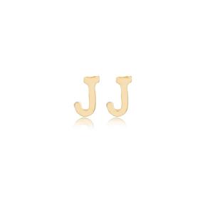 Minimalistic Initial Alphabet letter J Stud Earring Wholesale 925 Sterling Silver Jewelry