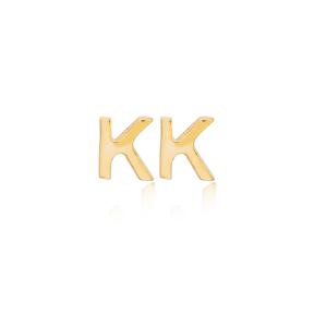Minimalistic Initial Alphabet letter K Stud Earring Wholesale 925 Sterling Silver Jewelry