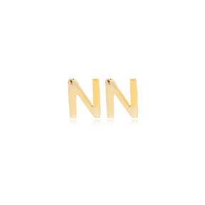Minimalistic Initial Alphabet letter N Stud Earring Wholesale 925 Sterling Silver Jewelry