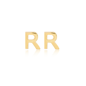Minimalistic Initial Alphabet letter R Stud Earring Wholesale 925 Sterling Silver Jewelry