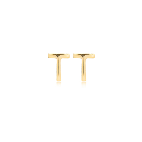 Minimalistic Initial Alphabet letter T Stud Earring Wholesale 925 Sterling Silver Jewelry