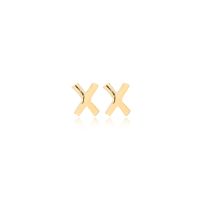 Minimalistic Initial Alphabet letter X Stud Earring Wholesale 925 Sterling Silver Jewelry