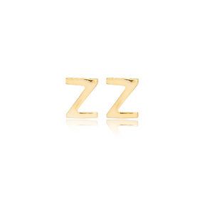 Minimalistic Initial Alphabet letter Z Stud Earring Wholesale 925 Sterling Silver Jewelry