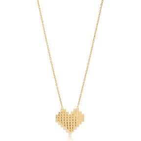Pixel Heart Shape Charm Design Pendant Turkish Handmade 925 Sterling Silver Jewelry