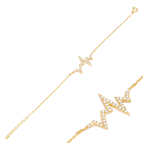 Elegant Heartbeat Design Bracelet Wholesale Handcraft  925 Sterling Silver Jewelry