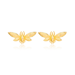 Fly Design Stud Earring Turkish Wholesale Handmade 925 Sterling Silver Jewelry