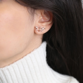 Fly Design Stud Earrings Turkish Wholesale Handmade 925 Sterling Silver Jewelry