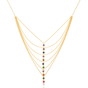 Trendy Multi Layered Necklace Colorful Charm Wholesale 925 Sterling Silver Jewelry
