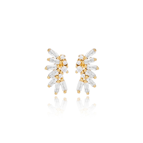 Fashion Baguette Design Stud Earring Turkish Wholesale Handmade 925 Sterling Silver Jewelry