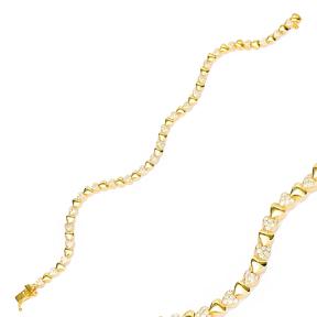 Heart Design Zircon Stone Eternity Bracelet Turkish Wholesale Handmade 925 Sterling Silver Jewelry