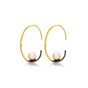 Silver 22k Gold Plated Oval Shape Pearl Earrings Handcrafted Wholesale 925 Sterling Silver Jewelry