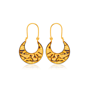 Silver 22k Gold Plated Crescent Shape Vintage Earrings Handcrafted Wholesale 925 Sterling Silver Jewelry