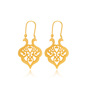 Silver 22k Gold Plated Ajour Design Vintage Earrings Handcrafted Wholesale 925 Sterling Silver Jewelry