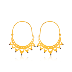 Silver 22k Gold Plated Trendy Hoop Design Vintage Plain Earrings Handcrafted Wholesale 925 Sterling Silver Jewelry