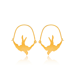 Silver 22k Gold Plated Bird Design Vintage Earrings Handcrafted Wholesale 925 Sterling Silver Jewelry
