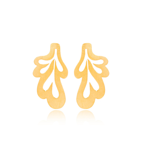 Silver 22k Gold Trendy Leaf Design Vintage Stud Earrings Handcrafted Wholesale 925 Sterling Silver Jewelry