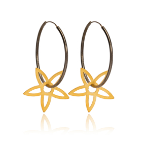 22k Gold Plated Silver Star Charm Design Ø30mm Hoop Earrings Handcrafted Wholesale 925 Sterling Silver Jewelry