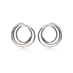 Twisted Circle Design Ø29mm Hoop Stud Earrings Handcrafted Wholesale 925 Sterling Silver Jewelry