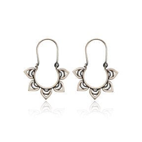 Flower Arched Shape Design Vintage Earrings Handcrafted Wholesale 925 Sterling Silver Jewelry